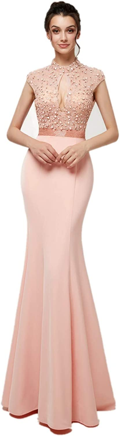 Darcy74Dulles Women's Pink Mermaid Keyhole Back Sexy Prom Dresses for Ladies Evening Formal Dresses