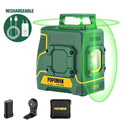 Livella Laser verde 2x360° POPOMAN, 2D linee laser 45m ricarica USB e batteria al litio, Decorazione d\'interni, Autolivellante, Supporto Magnetico, 360° Girevole, IP54, Borsa per trasporto-MTM340B
