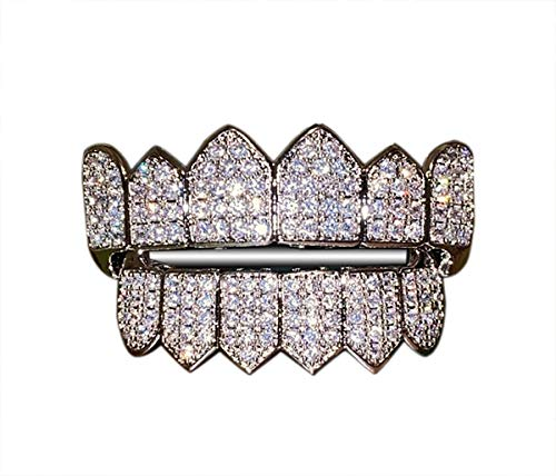 Joker White Gold Grillz Finish for Mouth Top Bottom Hip Hop Teeth Grills for Mouth Grillz for Mouth Top Bottom Hip Hop 8 Grills for Teeth Mouth Set - Teeth Cap, Iced Grillz (White, Top & Bottom Set)