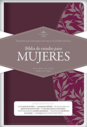 Biblia de Estudio para Mujeres: Reina-valera 1960, vino tinto/fucsia símil piel, Burgundy/Fuchsia LeatherTouch