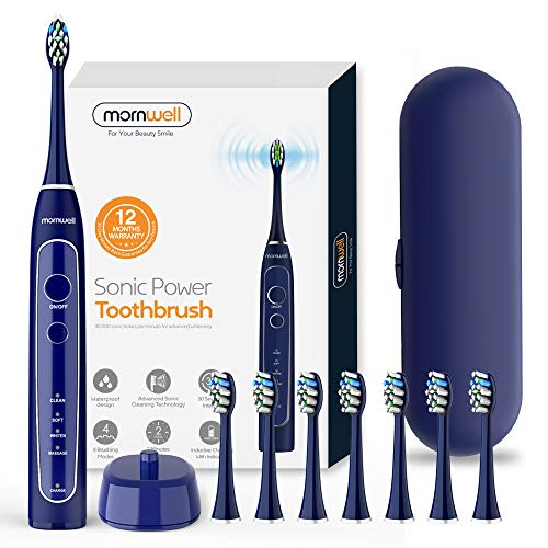 Mornwell T25 Powerful Sonic Vibrating Toothbrush Ultra Whitening Cleaning Toothbrush Wireless USB Inductive Charging Electric Toothbrush with 8 Dupont Replacement Heads Travel Case Included