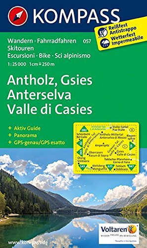 KOMPASS Wanderkarte Antholz - Gsies - Anterselva - Valle di Casies: Wanderkarte mit Aktiv Guide, Panorama, Radwegen und alpinen Skirouten. GPS-genau. 1:25000 (KOMPASS-Wanderkarten, Band 57)