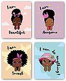 Black Girl Wall Art,Motivational Black Girl Wall Art,African American Girl Art Painting,Inspirational Black Girl Wall Art,Decorations for Girls Bedroom, Wall Art for Girls Bedroom, Set of 4 - No Frame,8'x10'