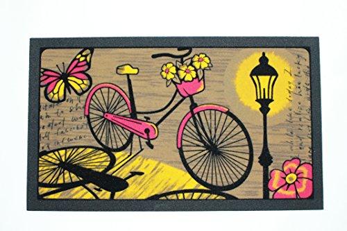 De'Carpet Felpudo Entrada Casa Original Moderno Flocado Bicicleta Ciudad Noche 40x70