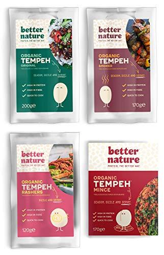 Better Nature vegane 100% BIO Fleischalternative aus Tempeh – 4x unterschiedliche Packungen leckere pflanzliche alternativen zu Fleisch mit vielen Proteinen und Ballaststoffen