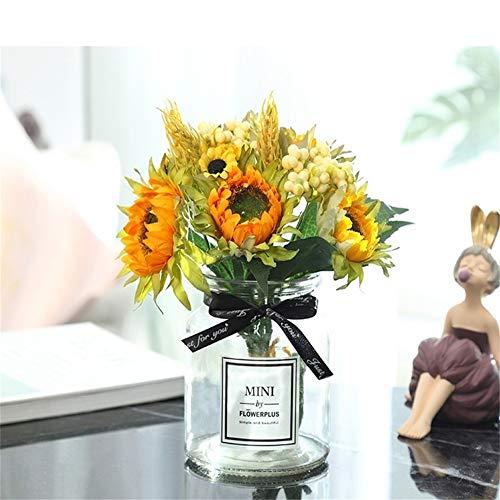 Ramo de Girasoles Artificiales de Tela, diseño Realista para casa, Hotel, Oficina, Boda, jardín, arreglo Floral, decoración de Mesa