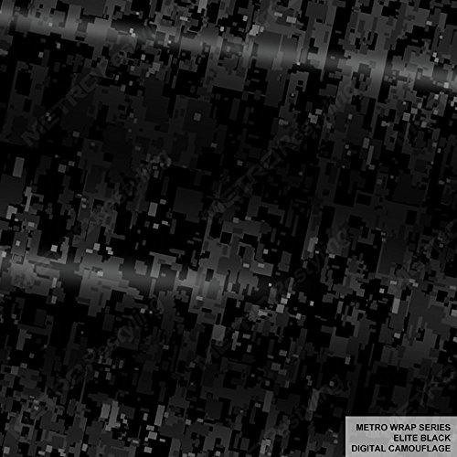 Metro Wrap Series Elite Black Digital Camouflage 5ft x 1ft (5 sq/ft) Camo Vinyl Car Wrap Film
