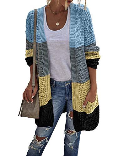 TEMOFON Women' Knit Cardigan Long Sleeve Color Block Casual Cardigans Open Front Sweater Coats Yellow Blue XL