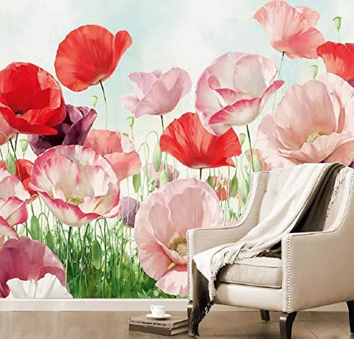 Fototapete 3D Effekt Tapete Hintergrund Wand Ölgemälde Von Mohnblumen Vliestapete 3D Wallpaper Moderne Wanddeko Wandbilder