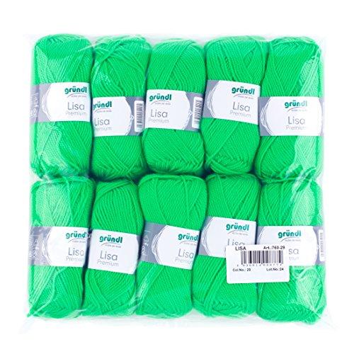Gründl Lisa Premium Wolle, Polyacryl, neongrün, 133 m, Nadelstärke 3,5- 4,5, 10er Pack