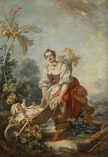 As Alegrias da Maternidade Jovem Mãe e seus Filhos Cena Campestre 1751 Pintura de Jean-Honoré Fragonard na Tela em Vários Tamanhos (55 cm X 38 cm tamanho da imagem)
