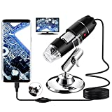 LTLWSH Microscopio Digital USB 40X a 1000X, 8 LED Cámara de endoscopio de Aumento con Soporte, Compatible para Android Windows 7 8 10 Mac