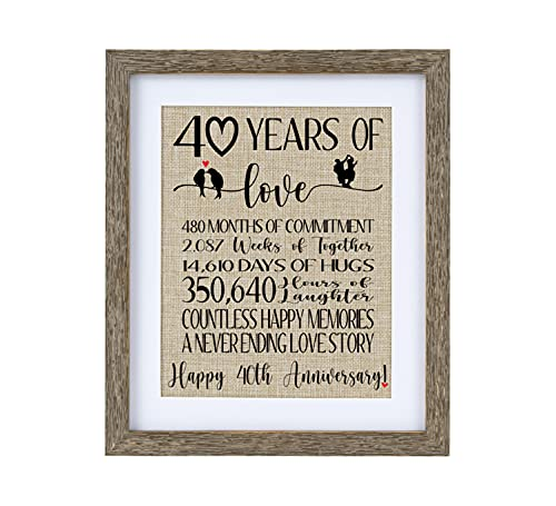 40 Years of Love Burlap Print with Brown Frame, Gifts for Parents 40th...
