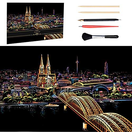 PEIPONG Kratzbilder Erwachsene, Scratch Painting, DIY Art Craft Nachtsicht Scratchboard, City Night View, mit 5 Werkzeugen, Kölner Dom (405 x 285 MM)