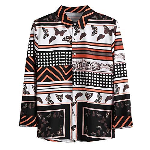 T Shirt Uomo Vintage Casual a Maniche Corte Slim Fit Maniche Corte Camicetta Maglietta Camicetta Maglia Maglietta a Maniche Corte da Uomo (XL,Marrone)