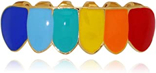 14k Gold Silver Plated Rainbow Color Top and Bottom Grillz Set + 2 Extra Molding Bars
