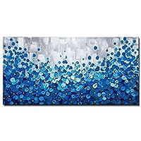 油絵 フレームポスター アートパネル 抽象的な青い花の風景 100%手描 壁飾り キャンバス絵画3D インテリア絵 壁アート 壁掛け 写真の装飾 贈り物 木枠成品,40x80cm