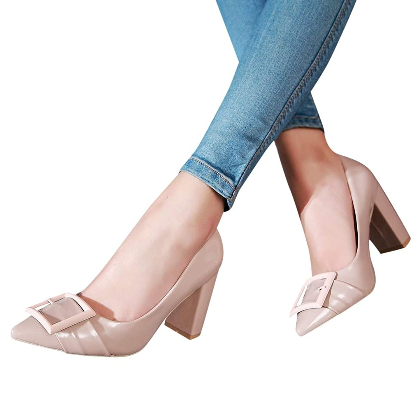 GHrcvdhw Ladies Single Elegant Confident Square High Heel Pointed Solid Thick Leisure Work Shoes Simple Style Sandals