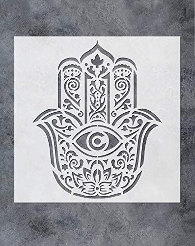 GSS Designs Hamsa Hand Mandala Wand Dekor Schablone (30,5 x 30,5 cm) Yoga Studio Decor Handkunst Malschablone für Holz Wand Möbel Boden Fliesen Stoff