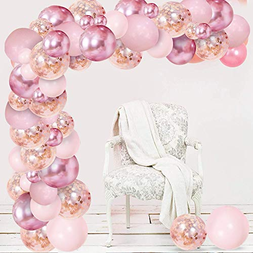 Luftballons Girlande, Aivatoba Rosa Ballongirlande Kit mit Rosegold Konfetti Luftballons, Metallisch Rot Latex Luftballons für Hochzeit Geburtstag Dekoration Party Baby Shower,Geschlecht Offenbaren