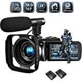 SUNLEA Video Camera Camcorder,Vlogging Camera for Youtube Full HD 2.7K 30MP 18X Digital Video Camcorder with Microphone,2 Batteries