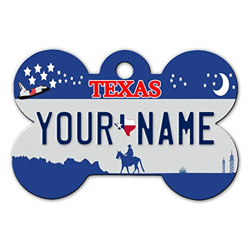 BleuReign(TM Personalized Custom Name Texas State License Plate Bone Shaped Metal Pet ID Tag with Contact Information
