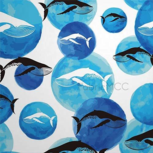 daoyiqi Juego de adhesivos decorativos para azulejos, diseño de ballena de 40,6 x 40,6 cm, vinilo resistente al agua, 12 unidades