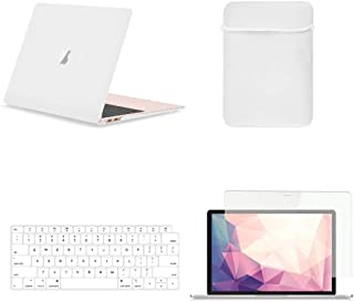 TOP CASE MacBook Air 13 Inch Case A1932 with Retina Display fits Touch ID 2019 2018 Release, 4 in 1 Essential Bundle Rubberized Hard Case, Keyboard Cover, Sleeve, Screen Protector - Satin White