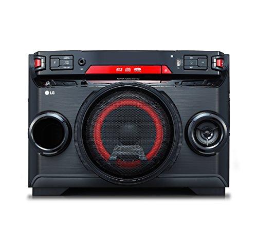 LG OK45, Microcadena (Home Audio Mini System, Multi Bluetooth 4.0, Altavoz Iluminado, Reproductor MP3 y WMA, Entrada de Micrófono), 220W, Negro/Rojo