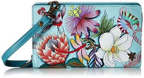 Anuschka Women's Genuine Leather Organizer Wallet - Hand Painted Original Artwork - Jardin Bleu