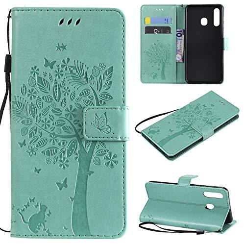 nancencen Hülle Kompatibel mit Samsung Galaxy A8S, Flip-Hülle Handytasche - Standfunktion Brieftasche & Kartenfächern - Baum & Katze - Green