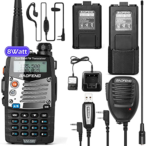 BaoFeng UV-5R 8W Ham Radio Walkie Talkie Dual Band 2-Way Radio with an Extra 3800mAh Battery Handheld Walkie Talkies with Baofeng Hand Mic and Programming Cable. Buy it now for 49.99