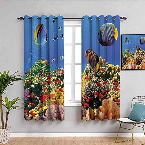 LucaSng Blickdicht Vorhang Wärmeisolierender - Ozean Tier Koralle Fisch - 264x210 cm - Junge mit Mädchen Schlafzimmer Wohnzimmer Kinderzimmer - 3D Digitaldruck mit Ösen Thermo Vorhang
