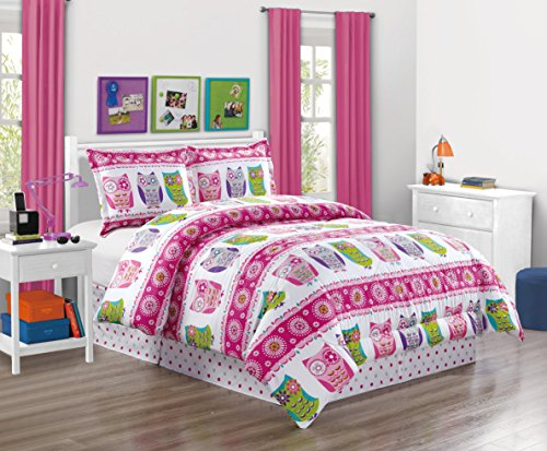 Girls Kids Bedding-Owl Design Polka Dot Tween Teen Dream Bed in A Bag. Twin Size 3-Piece Comforter Set-Love, Hearts-Hot Pink, Purple, Blue, Green and White