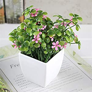 JruF Small Square Four-Leaf Clover + Flower (Pink) Home Kitchen Office Window Sill Spring Decoration, Round Modern Potted Green Artificial Succulent Flower Pot
