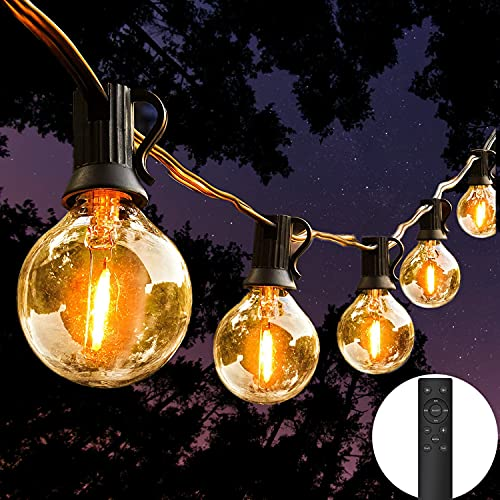 LED String Lights Remote Control, 25Ft Festoon Lights Mains Powered with 12+1 Shatterproof G40 Bulbs, IP45 Waterproof Outdoor Garden String Light for Patio Party Wedding Cafe, Warm White