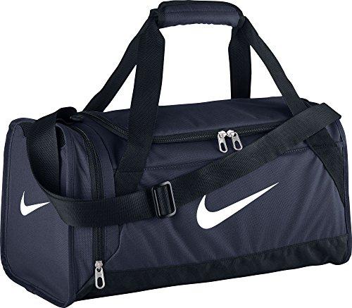 Nike Brasilia 6Duffel–Borsone da Sport per Uomo, Uomo, Brasilia 6 Duffel, Blu (Midnight Navy/Black/White) (Nero, Bianco), XS