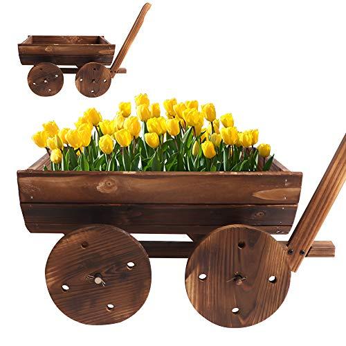 BIGTREE Flower Planter Wooden Wagon Cart Flower Pot Box Display Brown