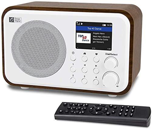 Ocean Digital WiFi Internetradios WR-336N Tragbares Digitalradio mit wiederaufladbarem Bluetooth-Empfänger mit 2,4-Zoll-Farbdisplay, 4 voreingestellten Tasten, Unterstützung für UPnP und DLNA-Schwarz