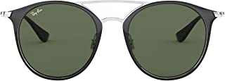 Ray-Ban Girl's 0rj9545s Round Sunglasses, SILVER ON TOP BLACK, 53.7 mm