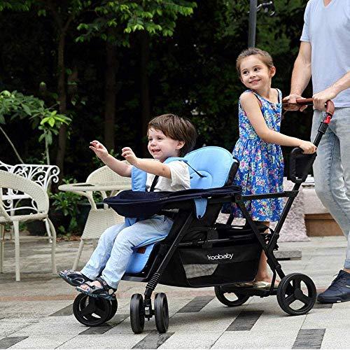 Contours Curve Tandem Doppelkinderwagen für Säuglinge, Kleinkinder oder Zwillinge - 360 & Deg;Drehen und einfache Handhabung über Bordsteinkanten Mehrere Sitzmöglichkeiten, A, A
