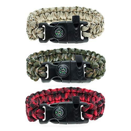 FROG SAC 3 Paracord Bracelets for Men - Camo Paracord Survival Bracelet Pack for Men with Compass, Fire Starter and Whistle - Tactical Gear Bracelets