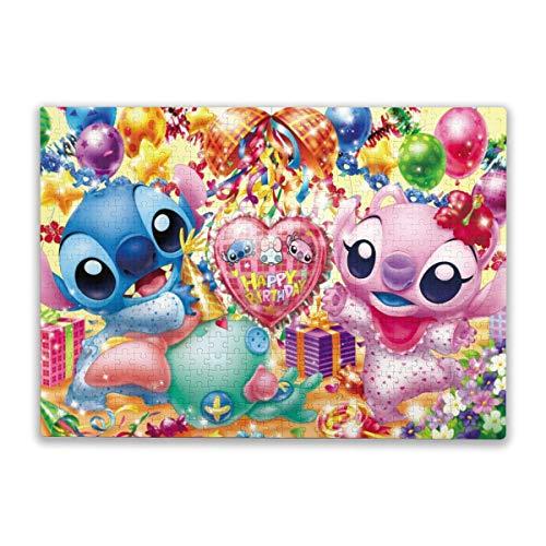 Lilo And Stitch   Puzzle de 500 piezas, diseño de animales de feliz cumpleaños para adultos y niños a partir de 10 años