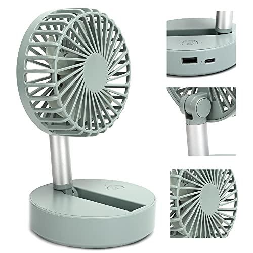 XINL Ventilador Plegable Recargable, Mini Ventilador 2000 mAh Ventilador de Mesa Ventilador de Escritorio portátil silencioso para Oficina, hogar, Acampada al Aire Libre