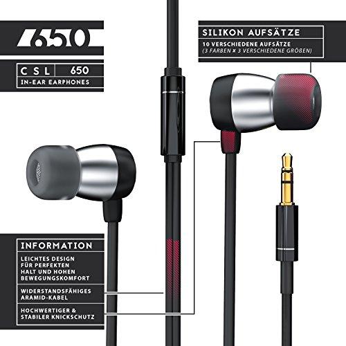 CSL - In-Ear Kopfhörer 650er Alu Earphone - widerstandsfähiges Aramid-Kabel optimierte Soundtreiber - Knickschutz - 10mm Schallwandler
