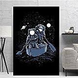 XIANGY Póster de astronauta con bicicleta, pescado, skater, galaxia, barco, cuadro de pared, para guardería, lienzo para pared, salón, dormitorio, decoración, sin marco (50 x 80 cm)