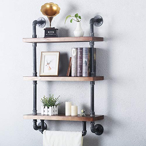 3 Tier Wood Shelf and Industrial Pipe Wall Mount Shelving