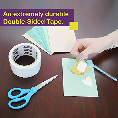 ATack Double-Sided Tape White, 2 Inches x 10 Yards, Heavy Duty Double Sides self Sticky Wall Fabric Tape for Wood Templates, Furniture, Leather, Curtains and Craft