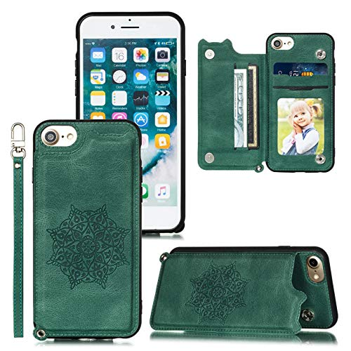 Compatible with iPhone 8 Case Wallet/iPhone SE 2020 Case/iPhone 7 Case/iPhone 6 6S Case,Card Holder Slots with Kickstand,Double Magnetic Clasp,Wrist Strap PU Leather Mandala Pattern Flip Cover (Green)