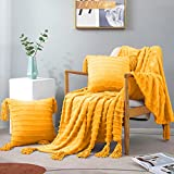 Exclusivo Mezcla 3-Piece Tassel Fringe Striped Fleece Throw Set, Chenille Fringes Throw Blanket with 2 Throw Pillow Covers( 50x60/18x18 Inches, Mustard Yellow)- Soft,Lightweight and Decorative